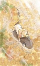 une jolie petite fille nageotte sur un poisson-chat !