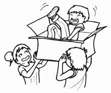 Le déménagement : Ben est dans un carton